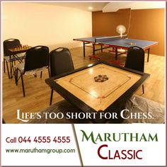 """Play is our brain's favorite way of learning.""  At Marutham Classic, we have provided indoor games like carom, table tennis, chess and many more for your precious kids."