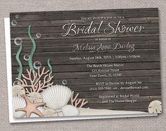 Rustic Beach Bridal Shower Invitations - Printed or Printable - Seashells over Dark Wood - Driftwood background idea for invitations