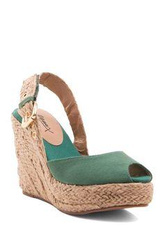 Peep Toe Slingback Espadrille Wedge Sandal