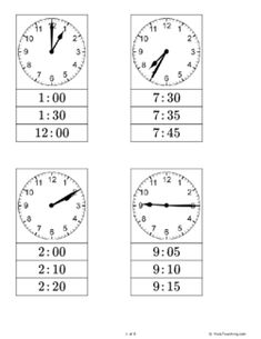 Clip Cards - Time (Grade - Free Printable Tests and Worksheets Telling Time Games, Telling Time Activities, Eyfs Activities, Clock Learning For Kids, Clock For Kids, Time Games For Kids, Math Lesson Plans, School Worksheets, Cycle