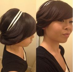 Simple and soft headband updo