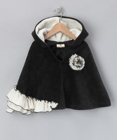 Love this Black & Ivory Ruffle Poncho - Infant, Toddler & Girls on #zulily! #zulilyfinds