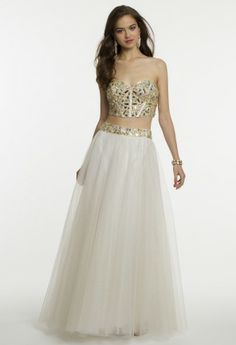Two-Piece Prom Dress with Corset Tie Top from Camille La Vie and Group USA