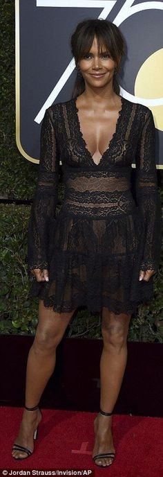 47a3b033360 Plunging  Halle Berry chose a see-through mini dress while pregnant Eva  Longoria chose