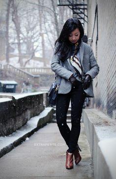 Snow Day: Zara Kids Tweed Swing Coat + Equestrian Scarf