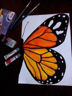 Borboleta monarca em aquarela
