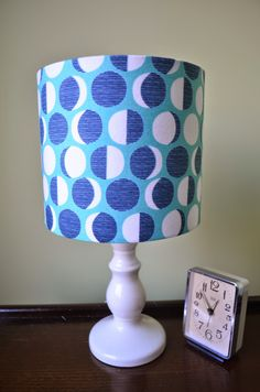 Lampshade Blue Moon Cotton Fabric Drum Lamp shade by ShadowbrightLamps on Etsy