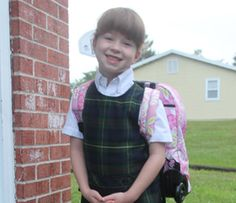 Katelyn Kelly on her first day of first grade at Corpus Christi.