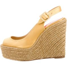 Pre-owned Christian Louboutin Satin Platform Espadrilles ($325) ❤ liked on Polyvore featuring shoes, sandals, gold, glitter sandals, wedge espadrilles, wedge heel sandals, ankle strap platform sandals and ankle wrap wedge sandals