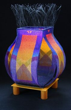 Jeanette Ahlgren   Loom-woven Glass Bead Work and Wire Warp Baskets Weaving Art, Wire Weaving, Basket Weaving, Woven Baskets, Native American Baskets, Native American Beadwork, Contemporary Baskets, Beaded Boxes, Peyote Beading