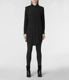 Womens Madison Shirt Dress (Black)