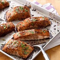Salmon with Balsamic-Honey Glaze Recipe. THIS IS AMAZING! I'm eating it right now :) ~ Perfect!