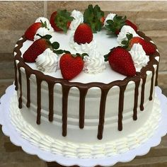 🇧🇷Comida Caseira🇬🇾Delivery of Brazilian food here in… – predetermined-drive Easy Birthday Cake Recipes, 15th Birthday Cakes, Happy Birthday, Cake Decorating Videos, Cake Decorating Techniques, Decorating Ideas, Fake Cake, Strawberry Cakes, Drip Cakes
