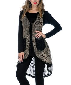 Take a look at this Mocha Crocheted Hi-Low Vest by Lily on #zulily today!
