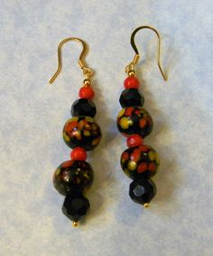 Black, Red & Yellow Glass Bead, Faceted Glass and Red Candy Jade Drop…