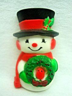 CHRISTMAS BROOCH SNOWMAN REDBIRD WREATH Cardinal Retro Xmas Holiday SO CUTE! #Unbranded