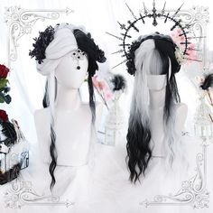 Lolita black and white color matching wig Lolita Cosplay, Cosplay Hair, Cosplay Wigs, Anime Cosplay, Kawaii Hairstyles, Pretty Hairstyles, Wig Hairstyles, Black And White Wig, Kawaii Wigs