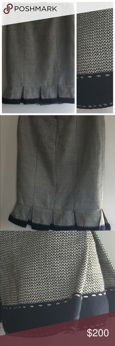 Nanette Lepore Pleated Linen and Cotton Skirt Gorgeous Nanette Lepore size 2 pleated Skirt. Cute hand stitching along the bottom! Teeeeny frays as you can see in the up close pic but seriously not noticeable. Nanette Lepore Skirts