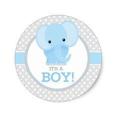 Elefante del bebé (azul) es un muchacho pegatina redonda