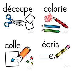 35 cliparts in french only Format: .gif with transparent background Included versions: color line art Please read the terms and conditions of use located on the Freebies main page before using any cliparts. French Teaching Resources, Teaching Tools, How To Speak French, Learn French, Teaching French Immersion, Core French, French Classroom, Kindergarten Lesson Plans, French Teacher