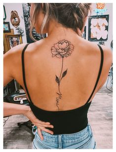 Girl Spine Tattoos, Back Tattoo Women Spine, Flower Spine Tattoos, Flower Tattoo Back, Leg Tattoos, Cool Tattoos, Tattoo Spine, Small Thigh Tattoos, Small Back Tattoos