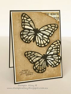 Typeset Butterflies using Stampin Up Butterflies Thinlets Dies, Typeset Specialty DSP and Something Lacy Background Stamp.