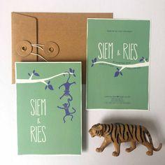 Vrolijk geboortekaartje voor Siem en Ries – mintgroen en blauw met aapjes - Oh Pretty Paper