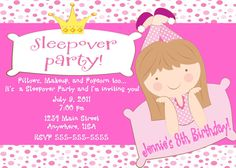 Slumber Party Sleepover Birthday by NvitationsByRachelle on Etsy, $7.00