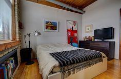 Noble Court Lofts - Unit #413   Toronto LOFTS Toronto Lofts, Centre Island, Hardwood Floors, Flooring, Exposed Brick Walls, Open Concept Kitchen, Wood Ceilings, Modern Design, The Unit