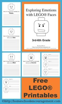 Free LEGO Printables - a new set of Exploring Emotions with LEGO Faces perfect for 3rd through 6th grade #homeschool.