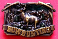 Men's Bowhunting Belt Buckle Berganot Brass by KookyTreasures, $14.95 **Present for Dexter maybe?