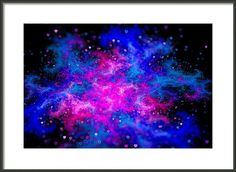 Love Galaxy - abstract art based on a fractal, beautiful blue and purple colors, black background. Lovely hearts flying around in space. Framed Print, select between many different frames. Also available as poster, canvas, metal or acrylic print. (c) Matthias Hauser