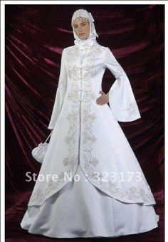 Long Sleeve Classic Wedding Dresses | Long Sleeve White Satin Applique Beading Muslim Wedding Dress Bridal ...