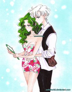Haruka and Michiru  - sailor moon S by zelldinchit on @DeviantArt