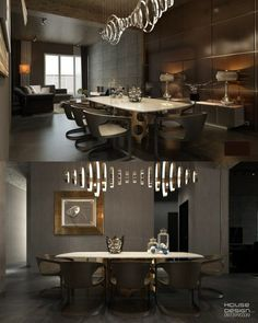 Another dark dining room fit for Batman, the light fixture dangling precariously over this table looks as those it could double as a weapon when called for. Dining Room Furniture Design, Minimalist Dining Room, Luxury Dining Room, Dining Rooms, Modern Dining Chairs, Home, Light Fixture, Weapon, Suspension Design