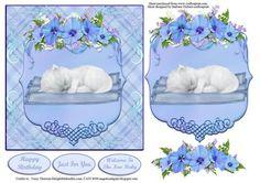 White Baby Kitten Blue Card Topper Decoupage on Craftsuprint - Add To Basket!