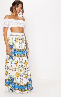 White Jersey Printed Maxi Skirt