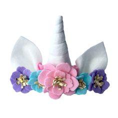 Baby unicorn horn flower crown headband  pastel by TreasuredPeach