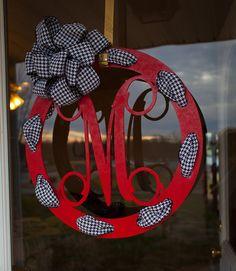 Door Hanger with Monogram  Wooden Initial Door Sign by thewoodduck