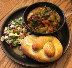 [Homemade] Pork stew soft pretzel and cabbage salad. #food #foodporn #recipe #cooking #recipes #foodie #healthy #cook #health #yummy #delicious