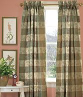 Embroidered Check Lined Rod Pocket Curtains