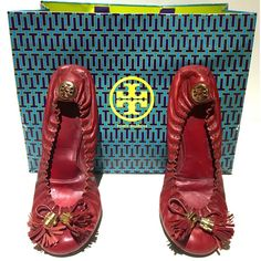Tory Burch Reese Flats Pre loved Tory Burch Reese flats. Signs of wear on back heel, sides, and front toe under tassels. Still have life to em! Gold hardware with adorable red tassels. Tory Burch Shoes Flats & Loafers