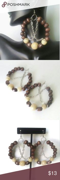 Wood Bead Hoop Earrings.  NWOT! Wood Bead Hoop earrings adorned with chain links to give a little edgy look. Purple Box Boutique Jewelry Earrings