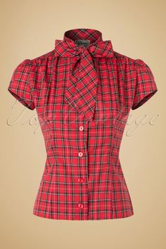 1940s Blouses and Tops 40s Estelle Tartan Blouse in Red £68.54 AT vintagedancer.com