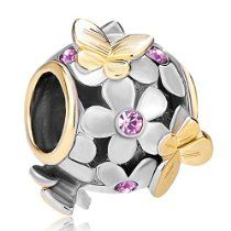 Butterfly Flower Charm for #Pandora Bracelet! #spring