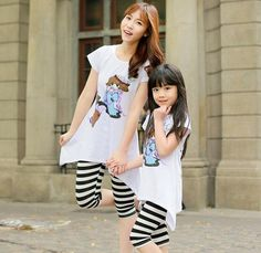 $30.80 Fashionable Mother And Daughter Outfit T Shirt With Striped Pants