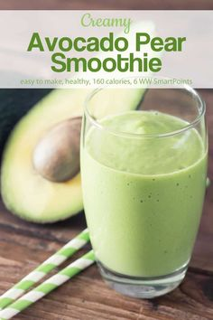 Creamy Avocado Pear Smoothie is an easy and nutritious breakfast with just 160 calories and 6 WW Freestyle SmartPoints! Pear Smoothie, Avocado Smoothie, Apple Smoothies, Easy Smoothies, Macha Smoothie, Pineapple Smoothie Recipes, Green Breakfast Smoothie, Avocado Breakfast, Protein Smoothies