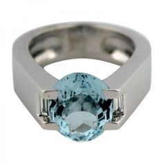 Pre-owned Cartier 18K White Gold Aquamarine & 7ct Diamond Ring Sz 6.75 ($6,995) ❤ liked on Polyvore featuring jewelry, rings, aquamarine rings, wedding band rings, 18k diamond ring, white gold diamond rings and aquamarine wedding rings