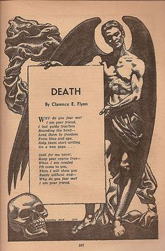"""Death Famous Fantastic Mysteries, October 1947 Hannes Bok Interior illustration supporting """"Death,"""" a poem by Clerence E. Flynn Famous Fantastic Mysteries, October 1947 Hannes Bok Interior illustration supporting """"Death,"""" a poem by Clerence E. Poem Quotes, Life Quotes, Tattoo Quotes, Poem About Death, Death Quotes, Quotes About Death, Caste Heaven, La Danse Macabre, Feelings"""