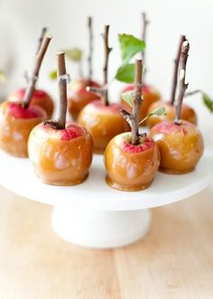 Apple Orchard Wedding Inspiration - Caramel apples with branches by Camille Styles http://www.theperfectpalette.com/2014/09/apple-orchard-wedding-inspiration.html